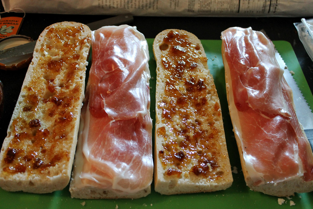 Full Frontal Fromage: Goat Cheese, Fig and Prosciutto Sandwiches