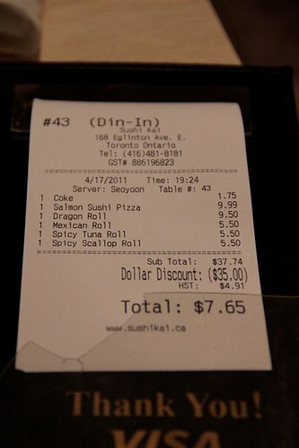 The Bill at Sushi Kai