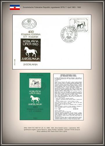 MiNr 1844 FDC 5607 M  25. VI. 1980.  400. Jhre Gestüt Lipica - Lipizzaner  400. godišnjica ergele Lupica Nacrt B. Jakac Kobila i ždrijebe. Lipizzan Horse (Equus ferus caballus) 400 Years Stud Farm Lipica