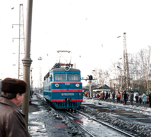 Trans-Siberian Railway 1990.Train Entering Zima Station.