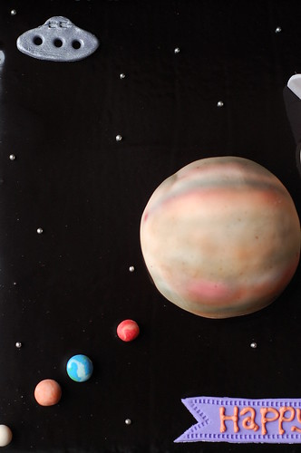 Caitlin's Solar System birthday cake - top view with spaceship
