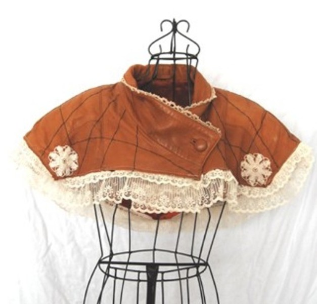 Refashioned Leather and Lace Capelet by Jessamity 2