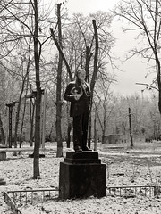 A lonely old age /   (Andrey  B. Barhatov) Tags: blackandwhite bw sculpture history mood random russia moscow reportage russya