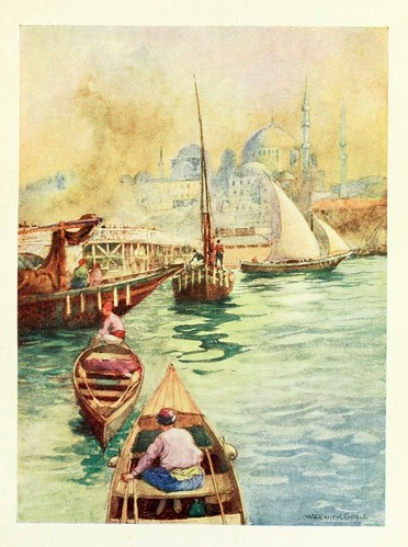 024-Otra vista del puente de Galata- Constantinople painted by Warwick Goble (1906)