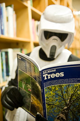 Doing his homework (Ar'alani) Tags: portrait oregon portland starwars humor bookstore stormtrooper 501st powells legion bikerscout cloudcitygarrison extremecheese
