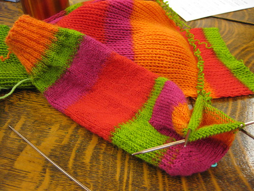 knitting socks from a scarf
