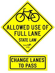 Bikes allowed use of full lane