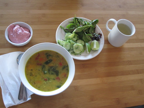 Lentil soup, 2 salads, raspberry mousse, lemonade - $6 from the bistro