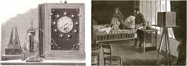 Appareil à 9 objectifs, Albert Londe à la Salpêtrière, gravures de Poyet, La Nature, 1883.