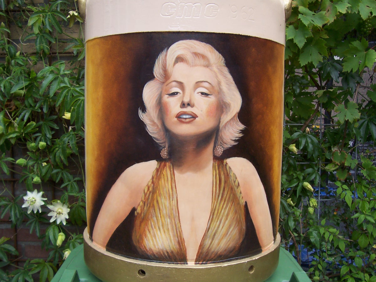 Miss Merilyn on a Milkcan Painting
