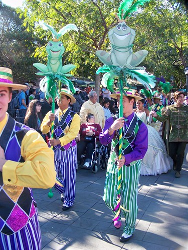 The processional marches through New Orleans Square on the way to Tiana's Showboat Jubilee