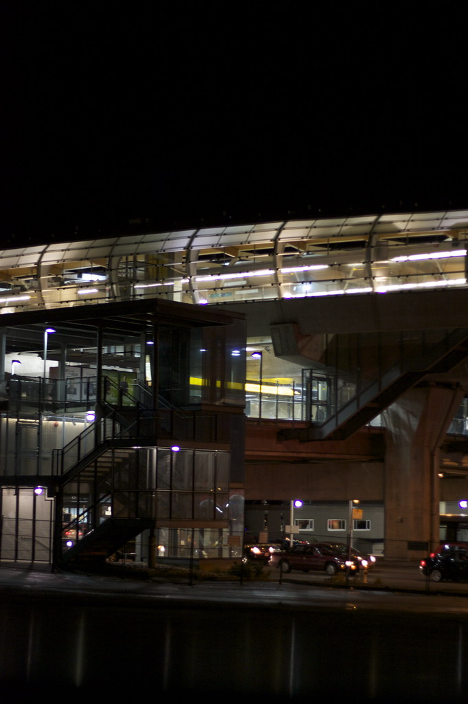 Brentwood Skytrain Station at night
