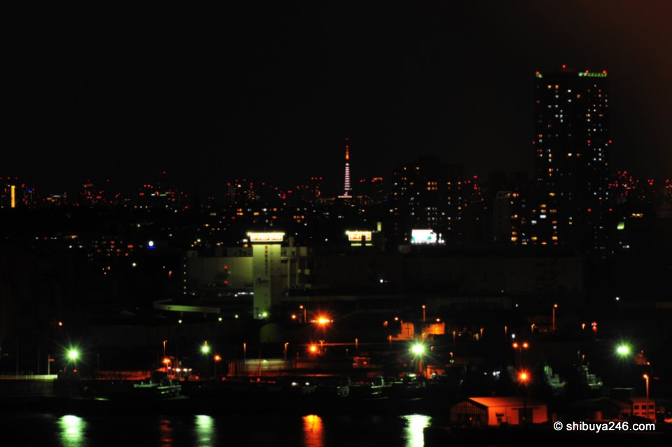 A view of Tokyo Tower and the red dots of Tokyo buildings, from the hotel window.
