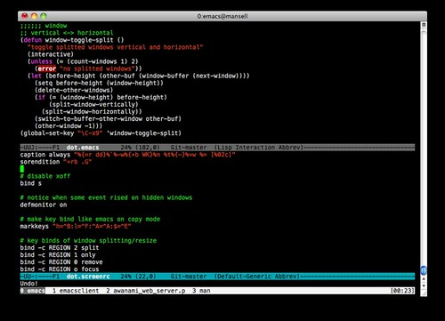 screen + emacs + Mac Terminal