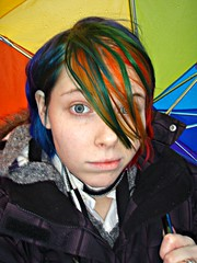 Windy (Megan is me...) Tags: megface meganyourface meg megan mckay meganisme self portrait photography bright neon colorful colored dyed hair dye specialeffects sfx candy apple red napalm orange mixed limelight iguana bluehairedfreak green blue mayhem jerome russell punky colours colors rosered rose flame mandarin turquoise violet plum pretty grey gray eyes rainbowumbrella umbrella rain rainy windy day indavis raincoat am sick