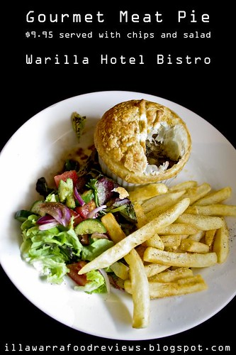 Gourmet Meat Pie with chips and salad