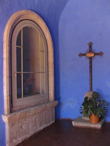 blue hallway