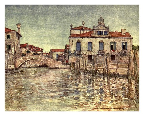 019- Un pequeño astillero de construccion de barcas en primer plano-Venice – 1904-Dorothy Menpes