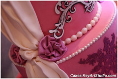 Princess Kathy Cake (Cakes.KeyArtStudio.com) Tags: birthday pink wedding cake gum disco shoe princess anniversary sparkle ruby dust drapes swags fondant isomalt cricut murshmallow paspe