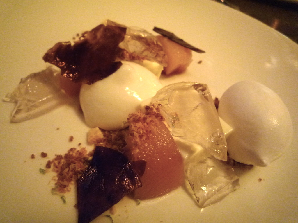 Sheep's milk yoghurt, coconut, poached white peach and black olive nougatine