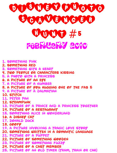 scavenger hunt 5: valentine's day/february 2010 | disney photo, Ideas