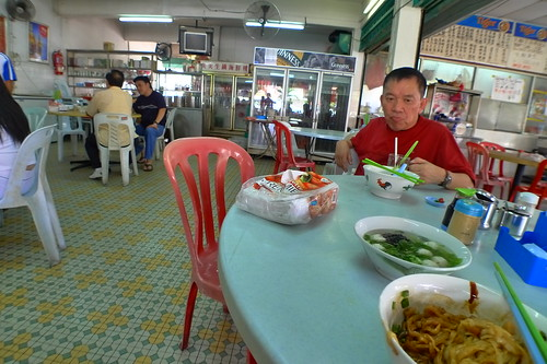 Dad eating fishball noodles