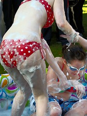 Wet Wrestling (gavinzac) Tags: charity water pool soap wrestling bikini ucc fighting paddling liquid fundraiser lube swimwear ragweek lubricated universitycollegecork itsybitsyteenyweenypolkadotbikini rgweek raiseandgiveweek