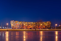 National Stadium (Aka: Bird Nest) (Laws0n_Lu) Tags: china lighting light night nightscape stadium beijing landmark  olympicpark    tse24mm  5dmkii