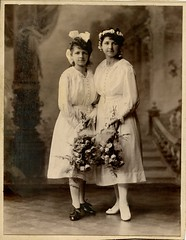 1912. Grandma and her sister as bridesmaids (elinor04) Tags: girls art fashion vintage studio design photo hungary details budapest young hairdo style secession architectural artnouveau bridesmaids dresses nouveau 1910s lacy hairstyle bows photograher jugendstil bla bellepoque szecesszi brunhuber shoestyle hungariansecession hungarianartnouveau brunhuberbla magyarszecesszi magyarszecessz