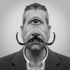"""""""In the land of the blind the one eyed man is King"""" ~ Desiderius Erasmus. (It's life Jim....) Tags: bw blackwhite king surrealism jim cyclops moustache explore dali mam frontpage mangled salvadordalí philippehalsman oneeyedman marchalphabetmadness dalicyclops"""