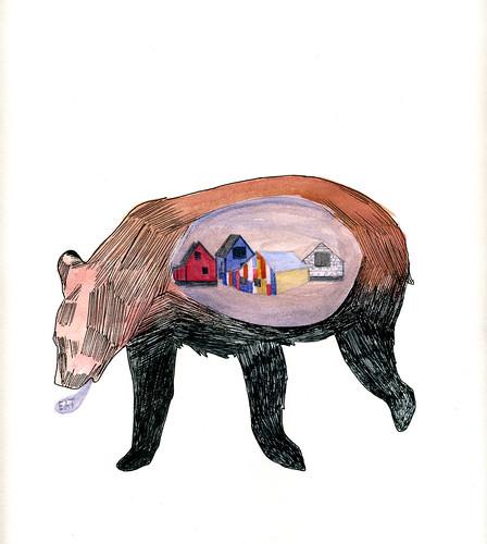 bear eats a town