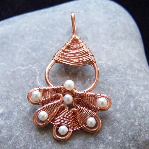 Copper and pearl fan pendant