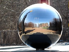 Apparently I really am a vampire.... (zJMac) Tags: reflection metal canon ball reflecting mirror bright distorted quebec sphere gatineau zjmac sx120 mygearandme mygearandmepremium