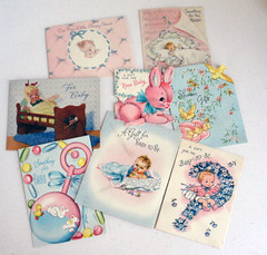 Collection of vintage baby cards (mbrichmond) Tags: collage ephemera babycards artprojects vintagecards mothersdaycards oldcards scrapbookstuff munastreasures recyclingoldcards