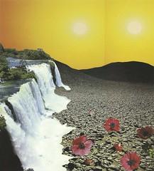 Papiercollage (epemsl) Tags: light collage illustration landscape wasserfall handmade space kunst glue blumen steine photomontage papier wste sonnen papiercollage