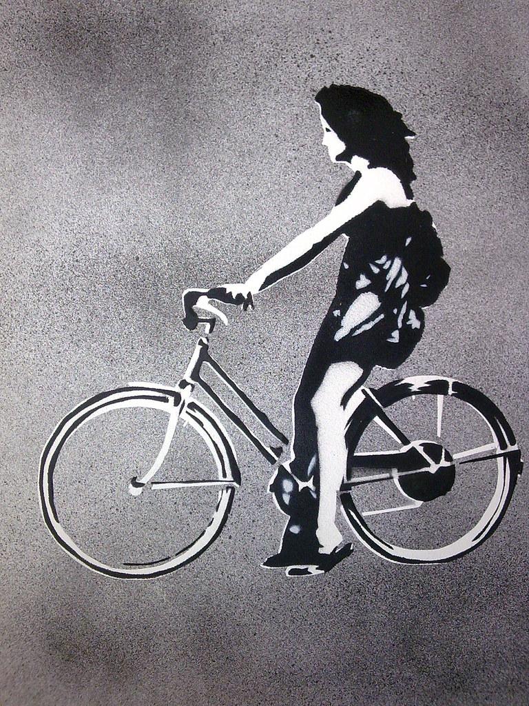 bike girl stencil