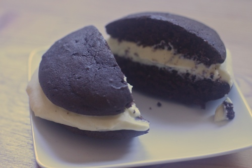 whoopie pies in various states of construction