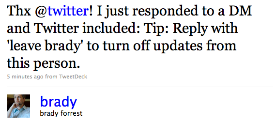 Twitter / brady forrest: Thx @twitter! I just respo ...