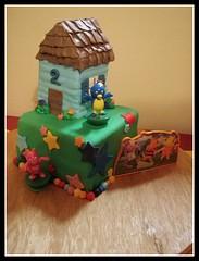 Backyardigans (brookwhisler) Tags: birthday 2 two house cake stars star icing fondant backyardigans