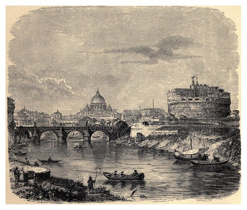 018-San Pedro con el puente y castillo de San Angelo-Italian pictures drawn with pen and pencil 1878