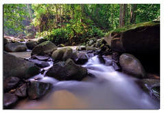 A mountain stream (Nora Carol) Tags: longexposure morning nature water rock stone forest river waterfall lol rays flowing sunbeam sabah cpl alam sungai riverstones mountainstream inanam malaysianphotographer cooltags nikond90 naturewatcher kionsom noracarol sabahanphotographer kionsomwaterfall itsatagwarhaha landscapephotographerfromsabah womanlandscapephotographer womaninphotography