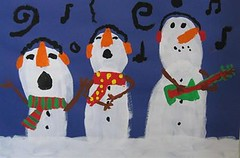 Singing Snowmen (JustScrappinHappy) Tags: christmas school painting fun snowman december singing guitar magic andrew myson craftaday arainbowofcolor allthingsfun