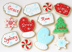 Chirstmas Tag Cookies (Glorious Treats) Tags: christmas cookies candy name tags sugar gifts glove favor peppermint personalized mitten