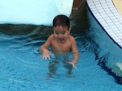 Julian in the pool