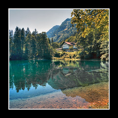 Lake in Alps (FrogHill) Tags: lake alps 6x6 water analog bavaria hotel alpina alpine landsend manual mamiya6 reflexion alpenverein
