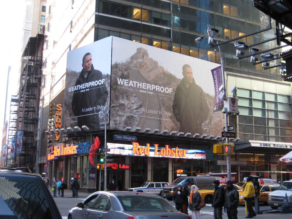 Barack Obama Weatherproof Jacket billboard Advertisement Times Square NYC 2850