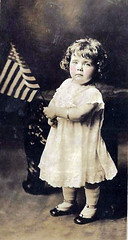 Vintage Postcard ~ (chicks57) Tags: child americanflag bow littlegirl realphoto