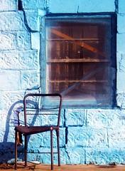 window and chair (shellshuttershock) Tags: old blue oklahoma window chair ugly smurf desolate