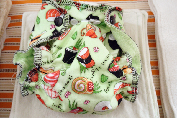 muttaquin baby all-in-one, sushi print