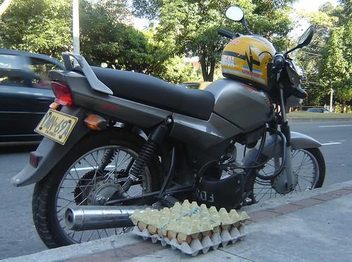DESCARGAN CANASTA DE HUEVOS JUNTO A MOTO